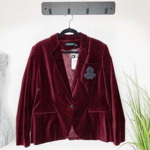 NWT Lauren Ralph Lauren Velvet Blazer Size 16